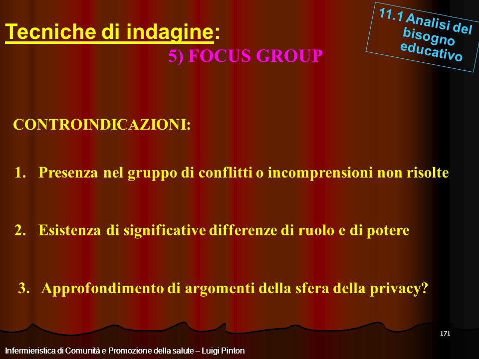 Tecniche di indagine: 5) FOCUS GROUP CONTROINDICAZIONI: