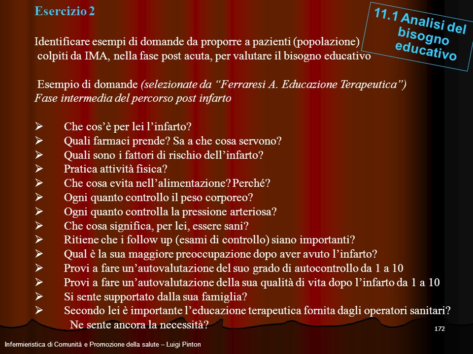 11.1 Analisi del bisogno educativo