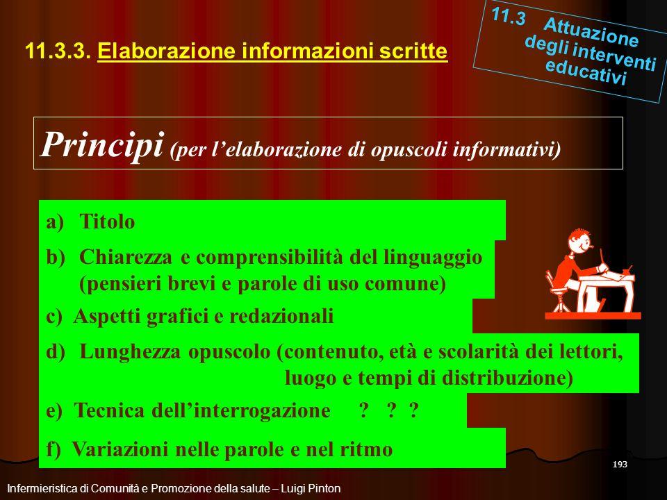 Principi (per l'elaborazione di opuscoli informativi)