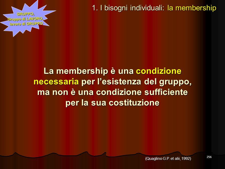La membership è una condizione necessaria per l'esistenza del gruppo,