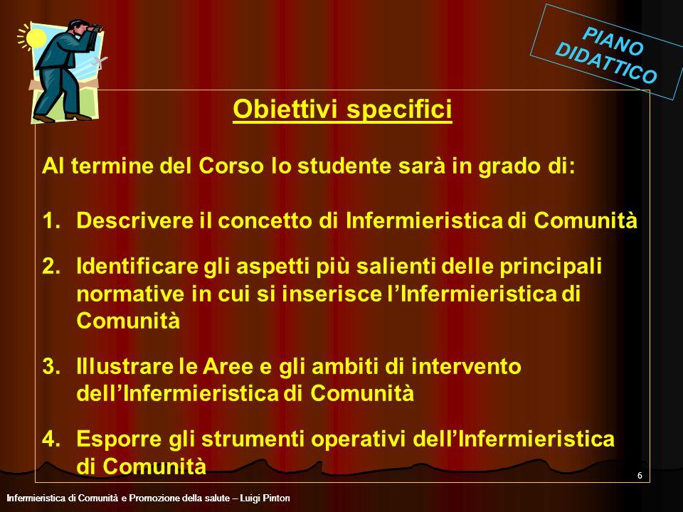 Obiettivi specifici Al termine del Corso lo studente sarà in grado di: