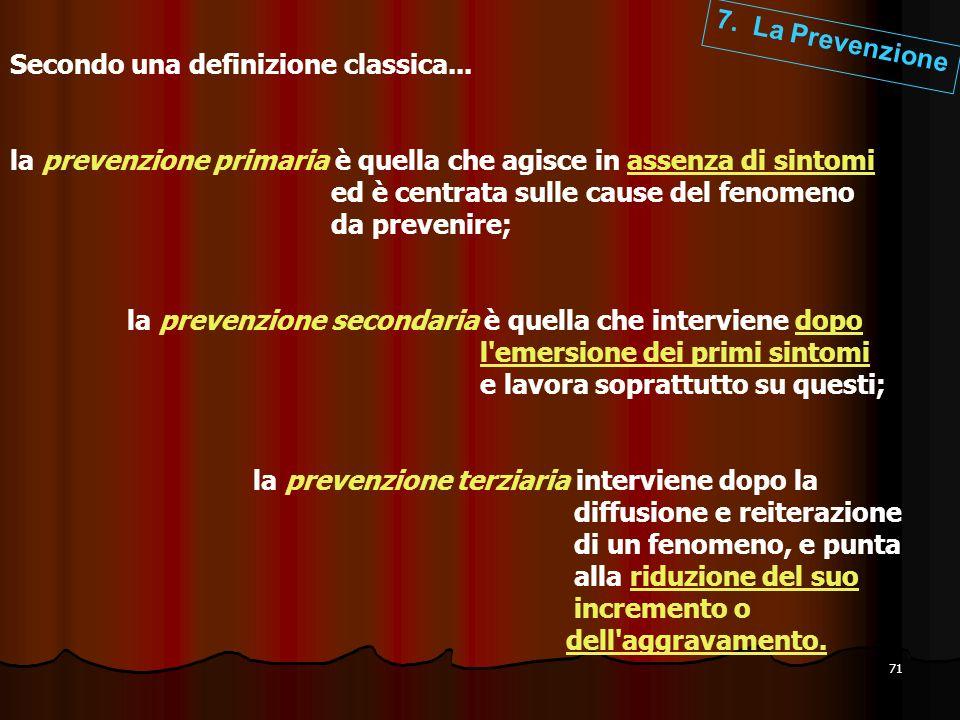 7. La Prevenzione Secondo una definizione classica... la prevenzione primaria è quella che agisce in assenza di sintomi.