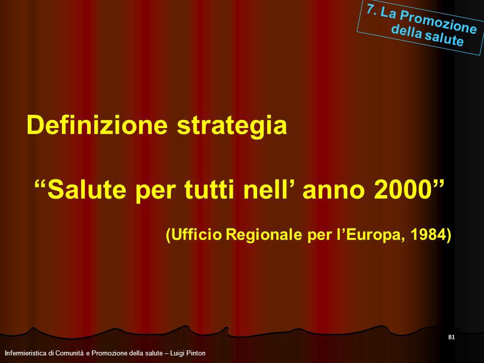 Definizione strategia Salute per tutti nell' anno 2000