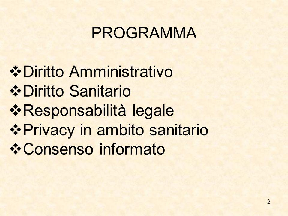 Diritto Amministrativo Diritto Sanitario Responsabilità legale