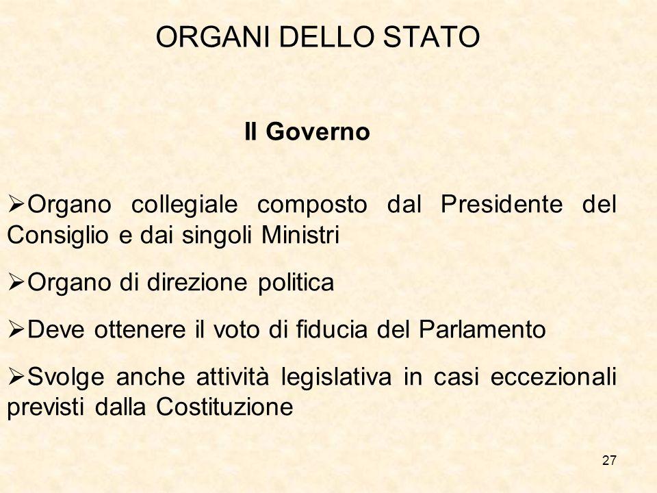 ORGANI DELLO STATO Il Governo