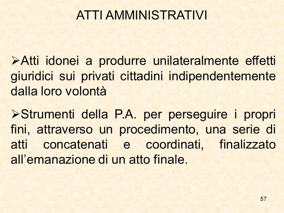 ATTI AMMINISTRATIVI Atti idonei a produrre unilateralmente effetti giuridici sui privati cittadini indipendentemente dalla loro volontà.