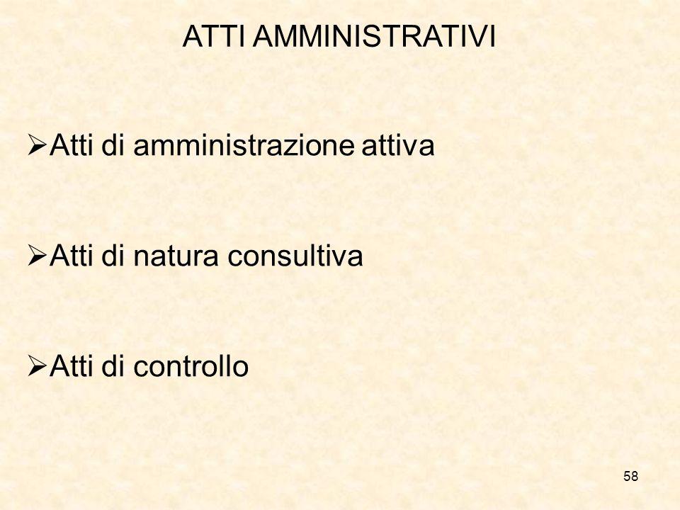 ATTI AMMINISTRATIVI Atti di amministrazione attiva Atti di natura consultiva Atti di controllo