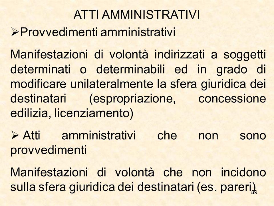 ATTI AMMINISTRATIVI Provvedimenti amministrativi.