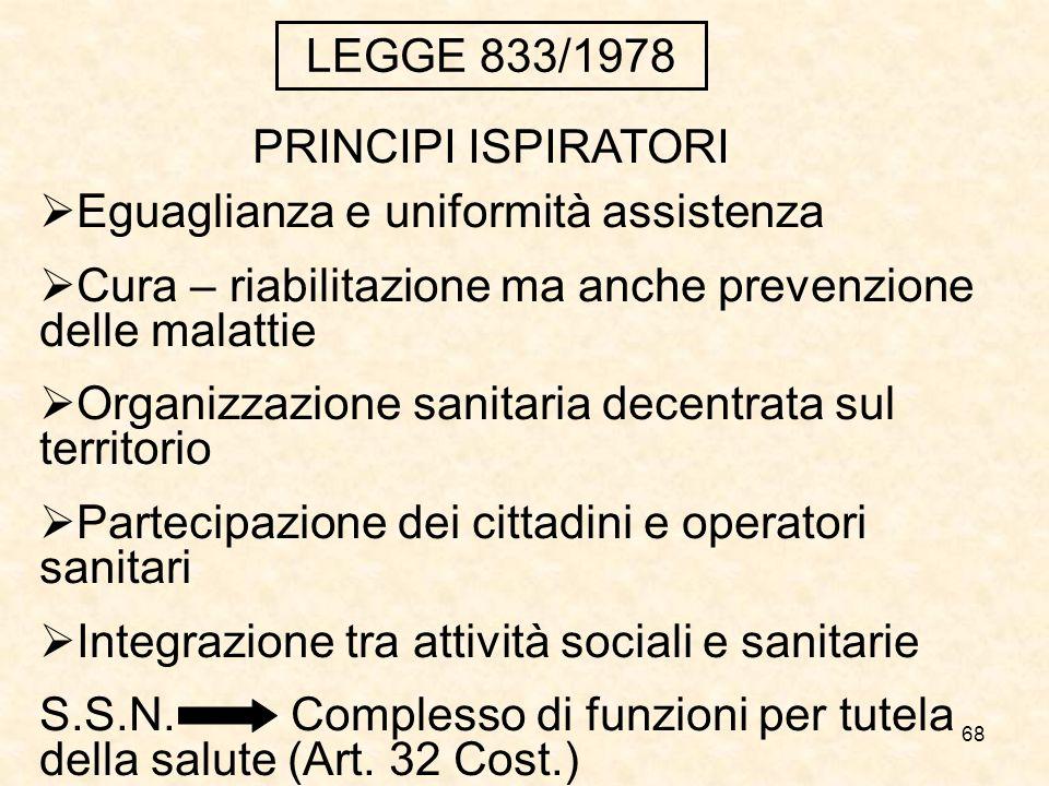 LEGGE 833/1978 PRINCIPI ISPIRATORI. Eguaglianza e uniformità assistenza. Cura – riabilitazione ma anche prevenzione delle malattie.