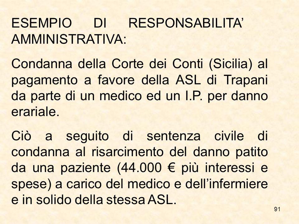 ESEMPIO DI RESPONSABILITA' AMMINISTRATIVA: