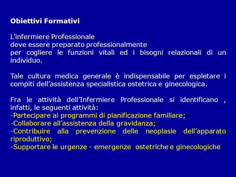 Obiettivi FormativiL'infermiere Professionale. deve essere preparato professionalmente.