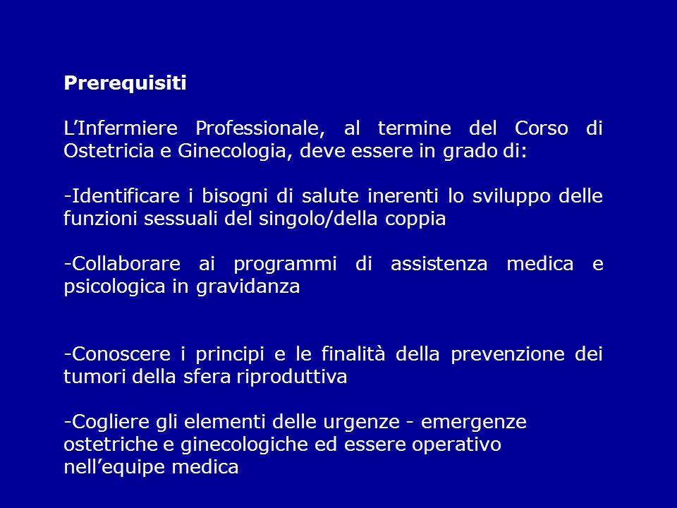 PrerequisitiL'Infermiere Professionale, al termine del Corso di Ostetricia e Ginecologia, deve essere in grado di: