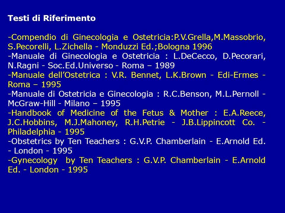 Testi di Riferimento-Compendio di Ginecologia e Ostetricia:P.V.Grella,M.Massobrio, S.Pecorelli, L.Zichella - Monduzzi Ed.;Bologna 1996.