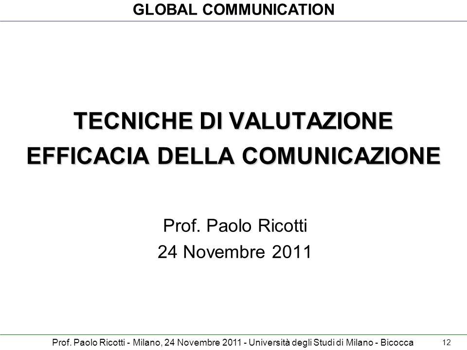 TECNICHE DI VALUTAZIONE EFFICACIA DELLA COMUNICAZIONE