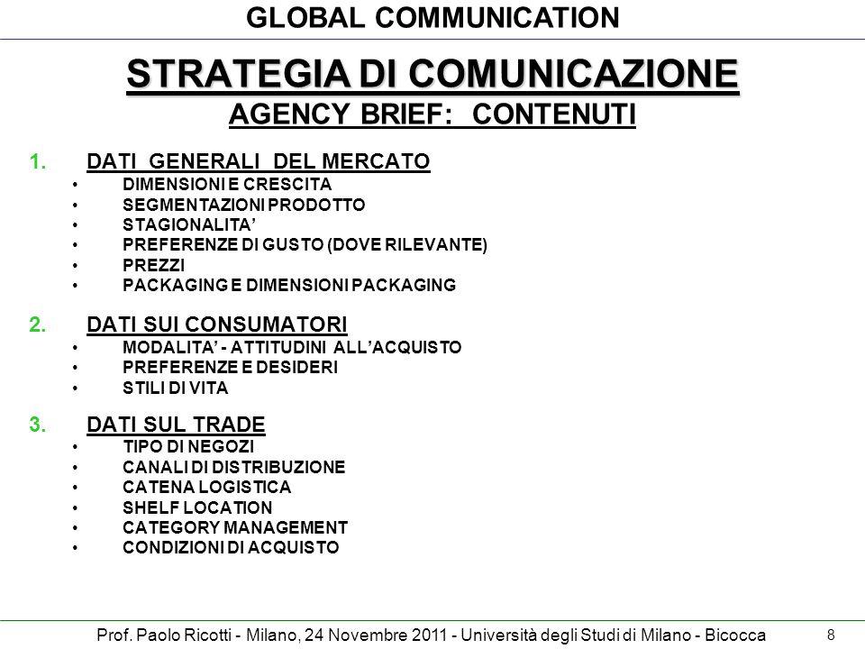 STRATEGIA DI COMUNICAZIONE AGENCY BRIEF: CONTENUTI