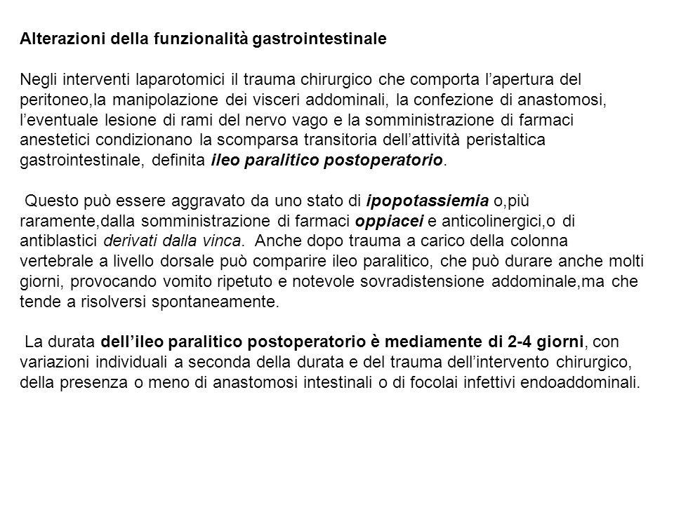 Alterazioni della funzionalità gastrointestinale