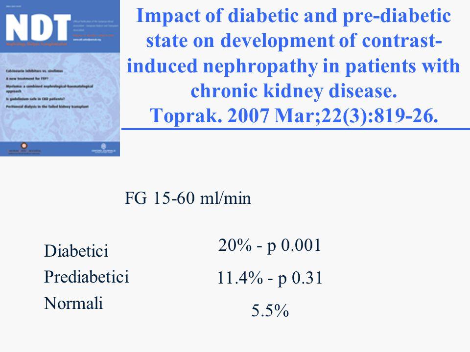 FG 15-60 ml/min Diabetici Prediabetici Normali