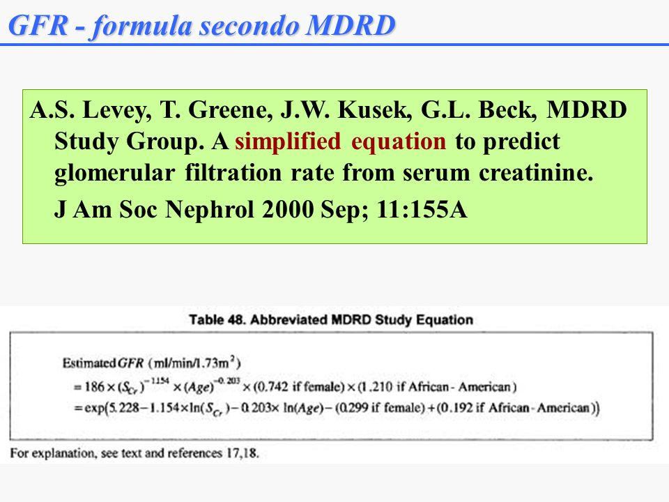 GFR - formula secondo MDRD