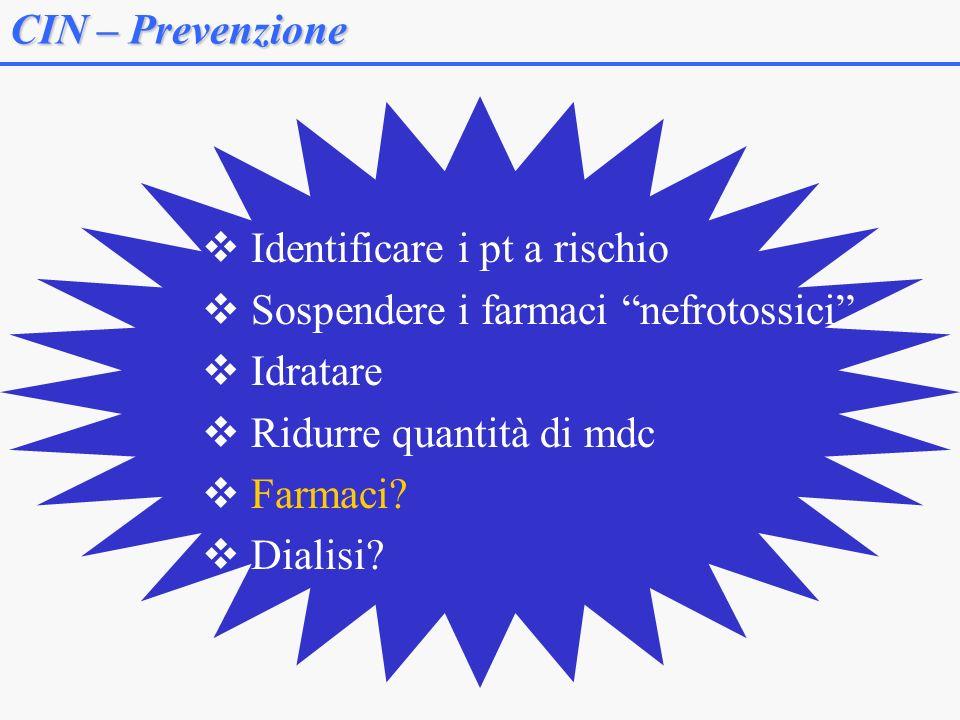 CIN – Prevenzione Identificare i pt a rischio. Sospendere i farmaci nefrotossici Idratare. Ridurre quantità di mdc.