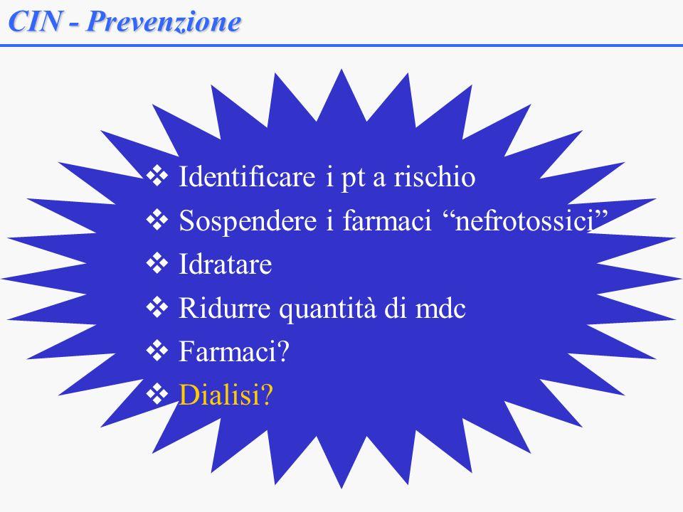 CIN - Prevenzione Identificare i pt a rischio. Sospendere i farmaci nefrotossici Idratare. Ridurre quantità di mdc.