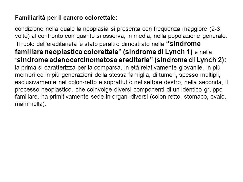 Familiarità per il cancro colorettale: