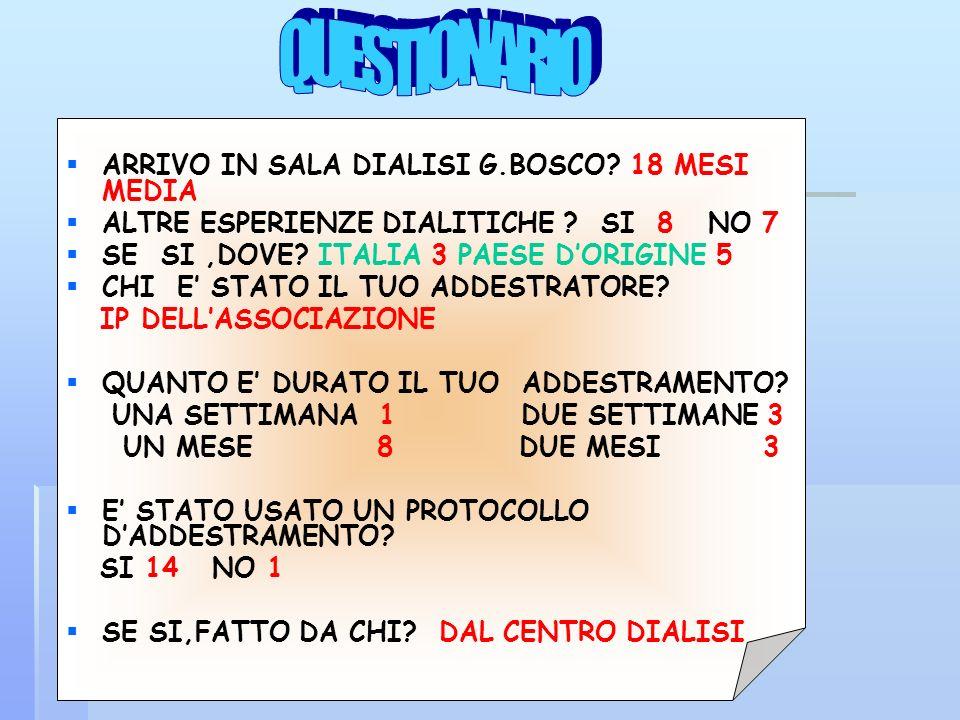 QUESTIONARIO ARRIVO IN SALA DIALISI G.BOSCO 18 MESI MEDIA