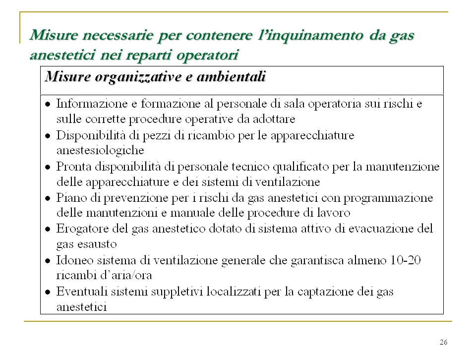 Misure necessarie per contenere l'inquinamento da gas anestetici nei reparti operatori