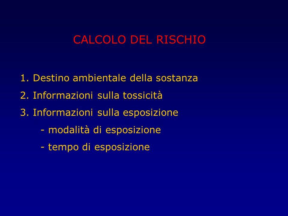 CALCOLO DEL RISCHIO 1. Destino ambientale della sostanza