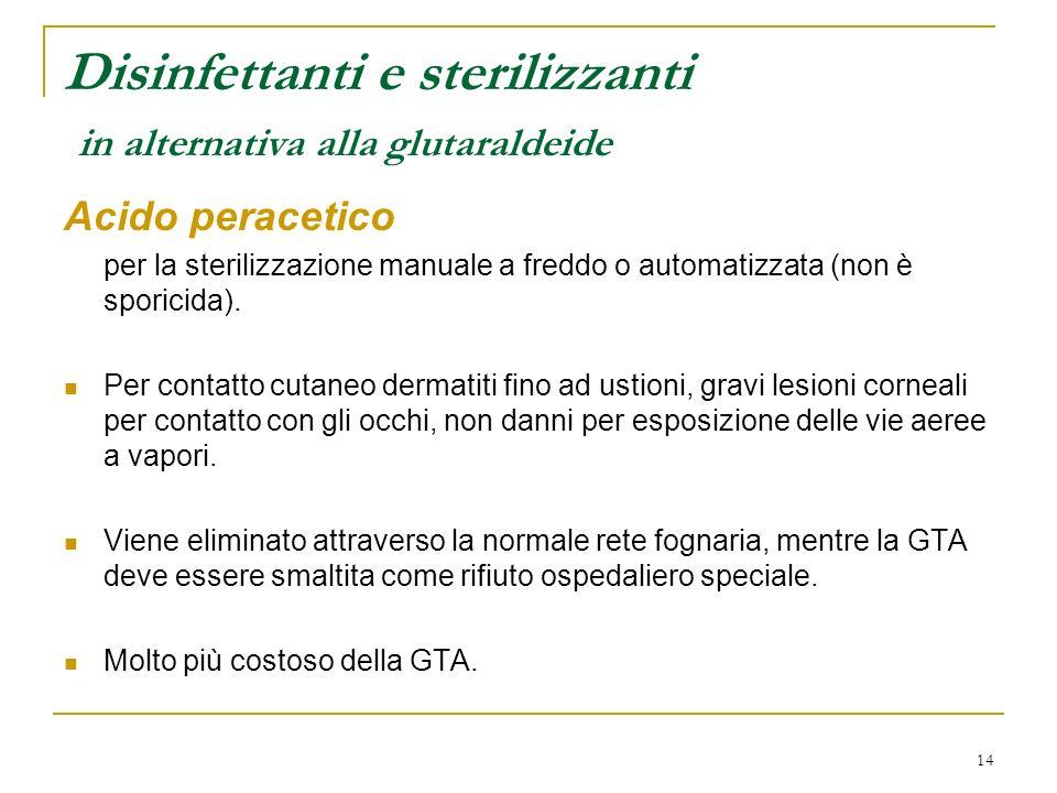 Disinfettanti e sterilizzanti in alternativa alla glutaraldeide