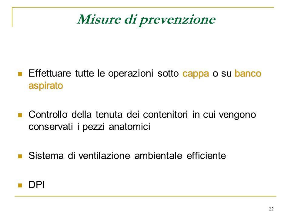 Misure di prevenzione Effettuare tutte le operazioni sotto cappa o su banco aspirato.