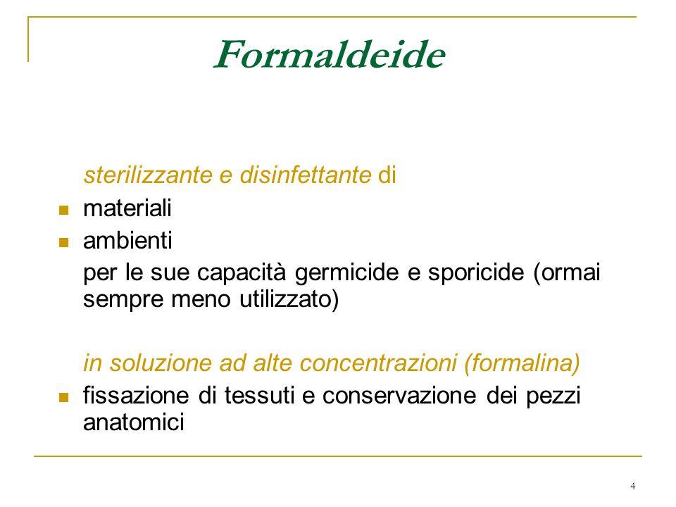 Formaldeide sterilizzante e disinfettante di materiali ambienti