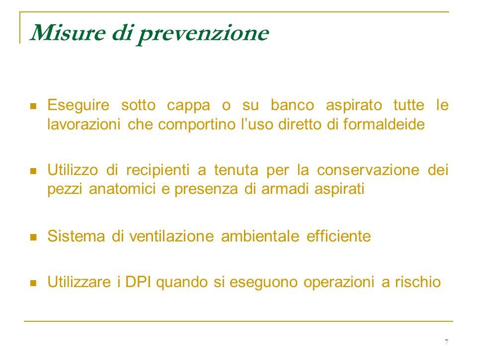 Misure di prevenzione Sistema di ventilazione ambientale efficiente