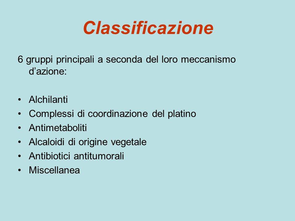 Classificazione 6 gruppi principali a seconda del loro meccanismo d'azione: Alchilanti. Complessi di coordinazione del platino.