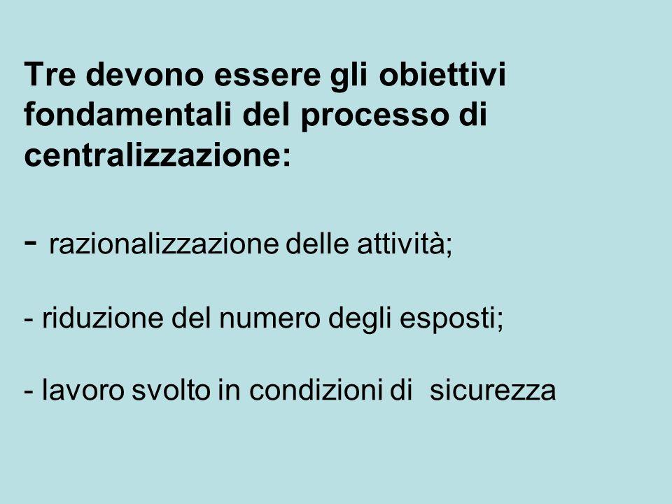 Tre devono essere gli obiettivi fondamentali del processo di centralizzazione: - razionalizzazione delle attività; - riduzione del numero degli esposti; - lavoro svolto in condizioni di sicurezza