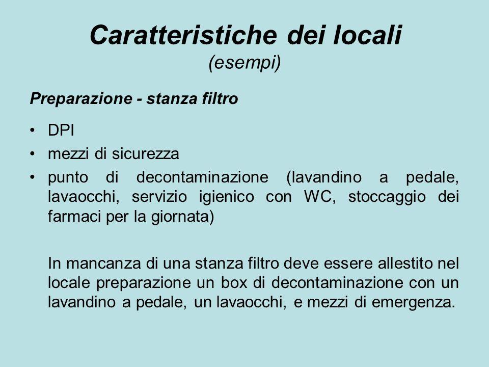 Caratteristiche dei locali (esempi)