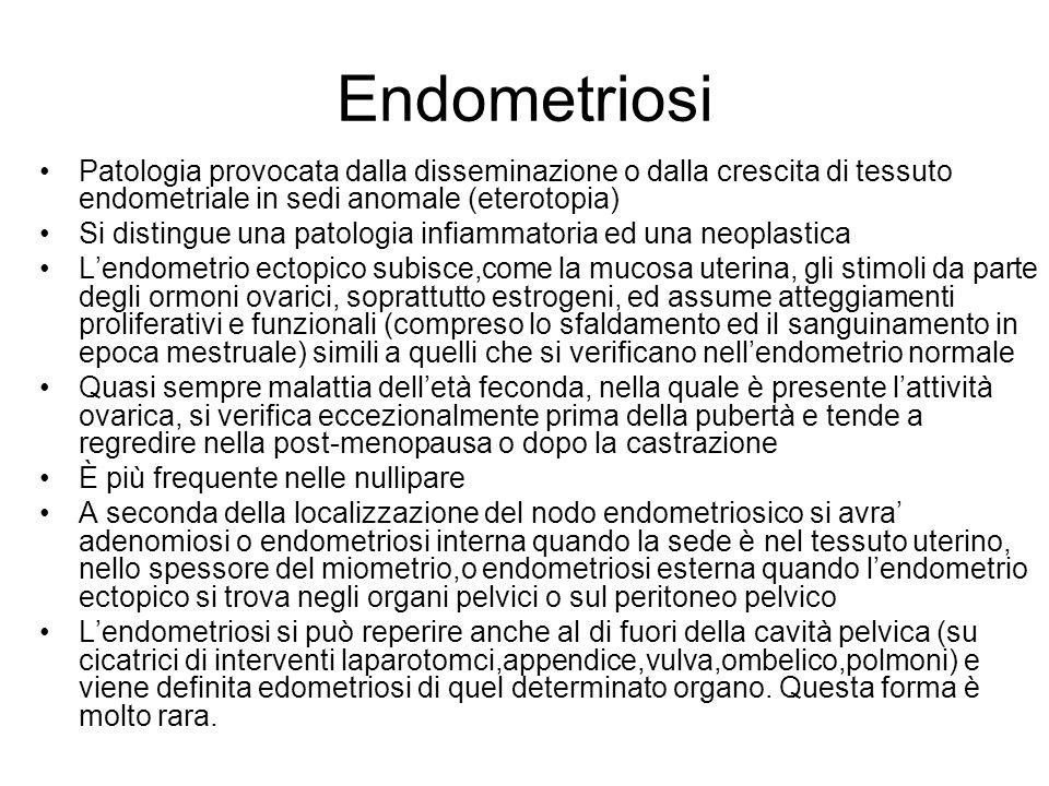 Endometriosi Patologia provocata dalla disseminazione o dalla crescita di tessuto endometriale in sedi anomale (eterotopia)