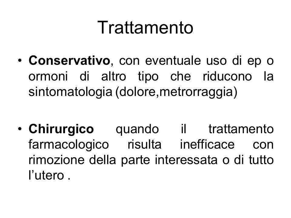 Trattamento Conservativo, con eventuale uso di ep o ormoni di altro tipo che riducono la sintomatologia (dolore,metrorraggia)