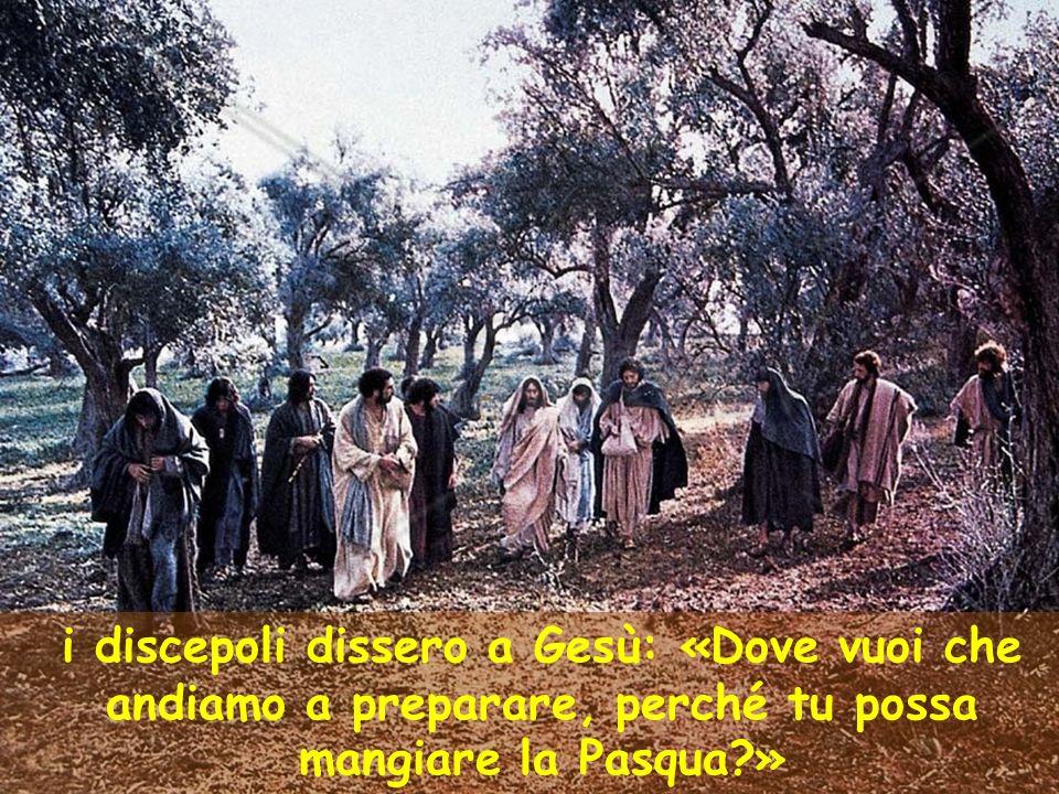 i discepoli dissero a Gesù: «Dove vuoi che andiamo a preparare, perché tu possa mangiare la Pasqua »