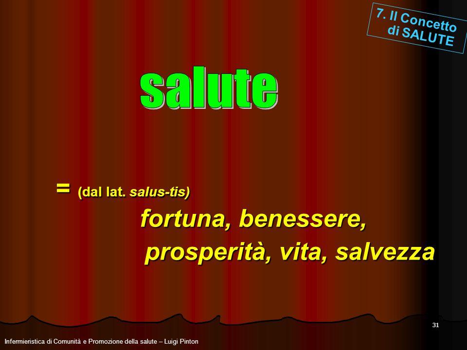 = (dal lat. salus-tis) fortuna, benessere, prosperità, vita, salvezza
