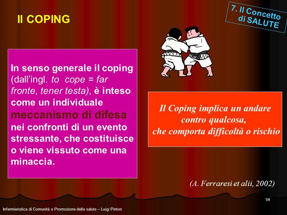 Il Coping implica un andare che comporta difficoltà o rischio