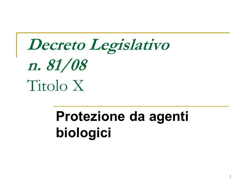 Decreto Legislativo n. 81/08 Titolo X