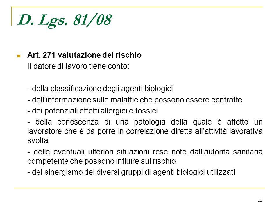 D. Lgs. 81/08 Art. 271 valutazione del rischio