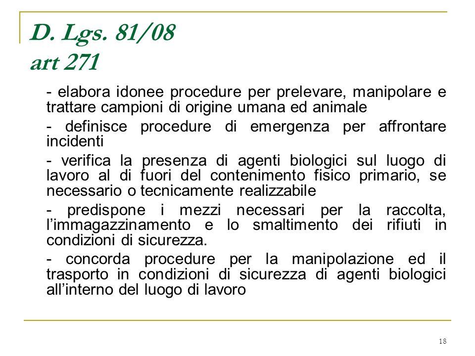 D. Lgs. 81/08 art 271 - elabora idonee procedure per prelevare, manipolare e trattare campioni di origine umana ed animale.