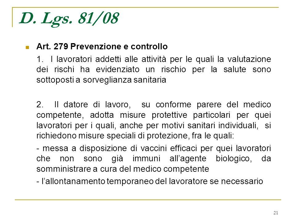 D. Lgs. 81/08 Art. 279 Prevenzione e controllo