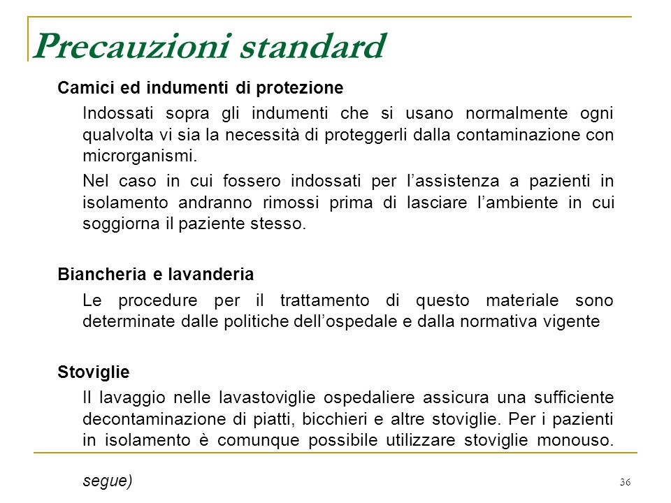 Precauzioni standard Camici ed indumenti di protezione