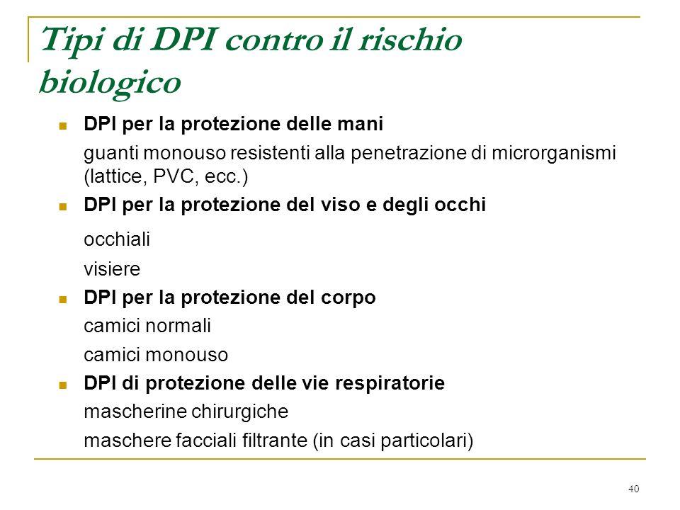 Tipi di DPI contro il rischio biologico