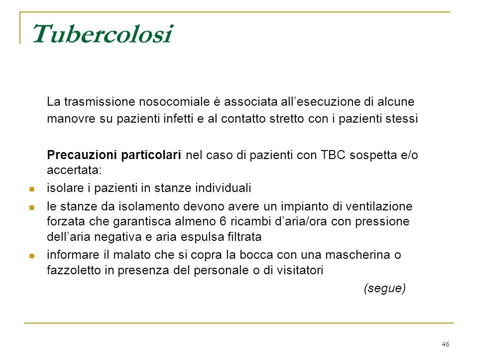 Tubercolosi La trasmissione nosocomiale è associata all'esecuzione di alcune manovre su pazienti infetti e al contatto stretto con i pazienti stessi.