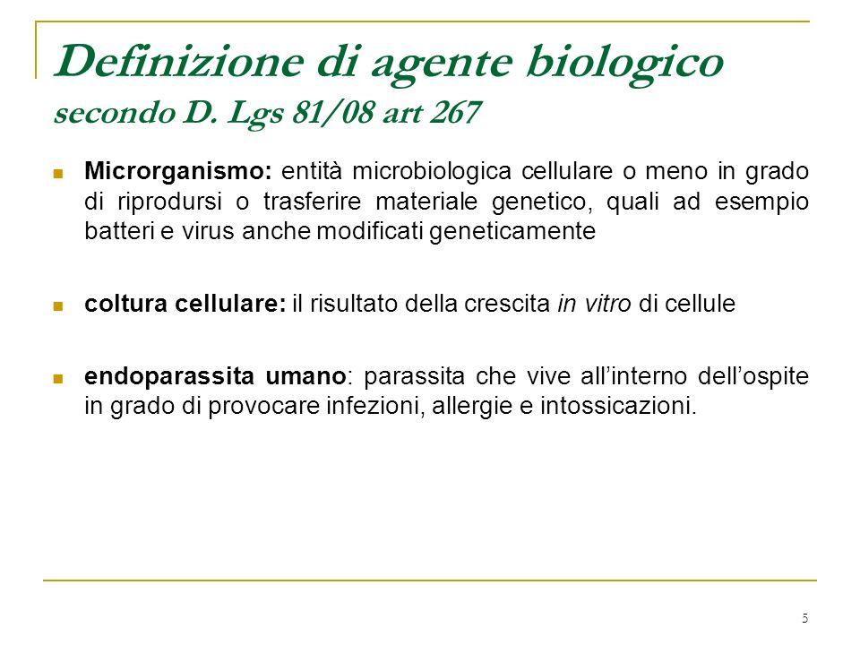 Definizione di agente biologico secondo D. Lgs 81/08 art 267