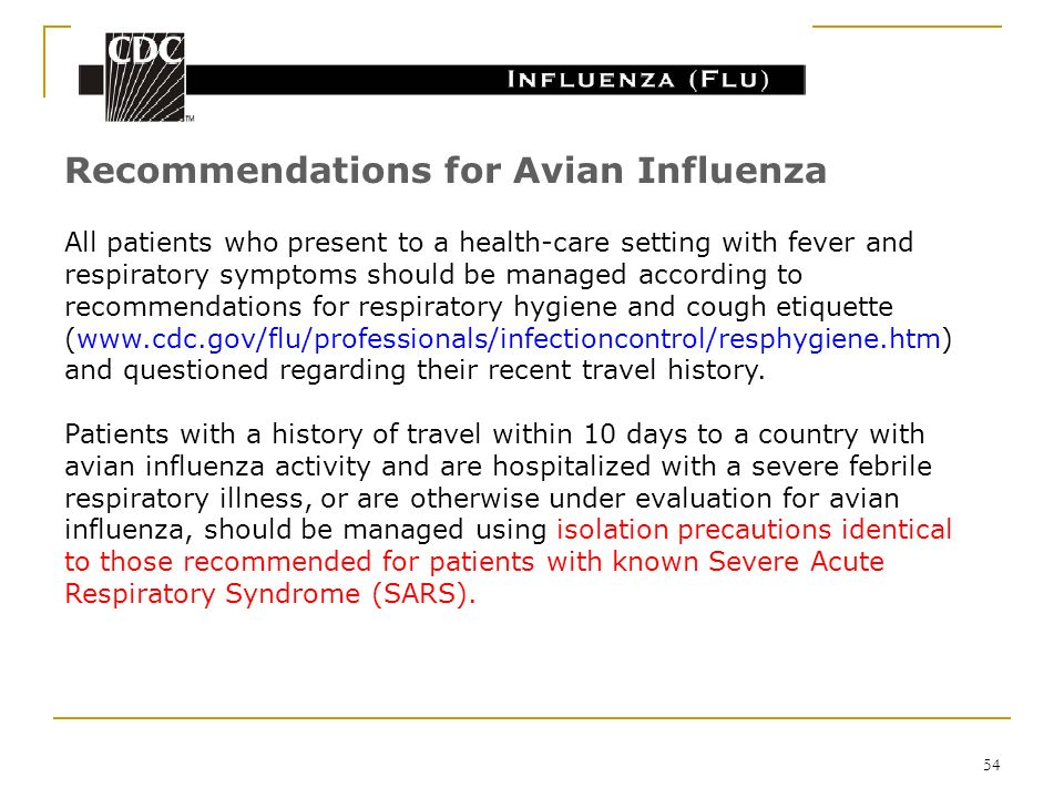 Recommendations for Avian Influenza