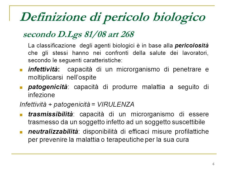 Definizione di pericolo biologico secondo D.Lgs 81/08 art 268